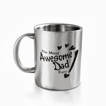 Hot Muggs The Most Awesome Dad Stainless Steel Double Walled Mug 350 ml-1 Pc,  silver