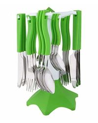 Bright Spoon Cutlery Set - 24 Pcs,  green