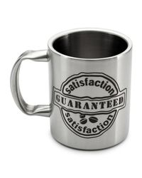 Hot Muggs Satisfaction Guaranteed Stainless Steel Double Walled Mug 350 ml-1 Pc,  silver