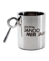 Hot Muggs Janoo Meri Jaan Stainless Steel Double Walled Mug 350 ml-1 Pc,  silver