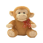 Ultra Sitting Monkey With Red Bow Soft Toy 11 Inches (1121UST),  brown