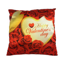 Ultra Premium Printed Valentine Day Cushion (1238UST), gold and red