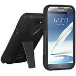 Amzer Double Layer Hybrid Case with Kickstand - Black - Samsung Galaxy Note II GT-N7100, black