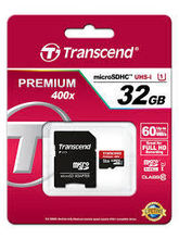 Transcend Premium 32GB MicroSDHC Class10 UHS-1 Memory Card with Adapter 60 MB/s (TS32GUSDU1)