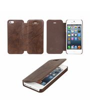 Kingcom Ultra Slim Suave Leather Flip Cover For IPhone 5, Brown
