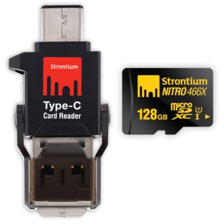 Strontium NITRO 466x 128GB MicroSDXC UHS-I (70MB/s) Memory Card (With Type-C Card Reader)