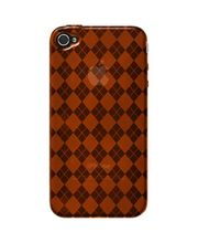 Amzer Luxe Argyle High Gloss TPU Soft Gel Skin Case For IPhone 4, Orange