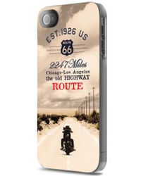 Route 66 Moto Glossy Hard Case+ Screen protector for iPhone 5/5S,  beige