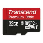Transcend 32GB MicroSDHC Class10 UHS-1 Memory Card with Adapter 45 MB/s (TS32GUSDU1), standard-black