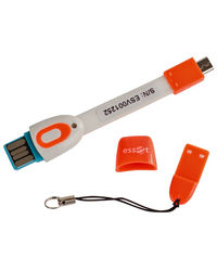 Essot 3 in 1 sync and charge cable with card reader,  orange