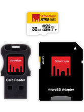 Strontium 32GB Nitro Micro SD Card With Adaptor and Card Reader, multicolor