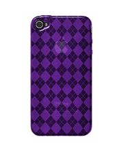 Amzer Luxe Argyle High Gloss TPU Soft Gel Skin Case For IPhone 4, Purple