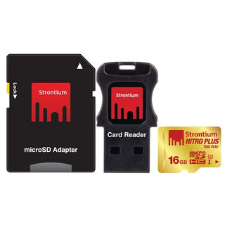 Strontium Nitro Plus 16GB MicroSDHC Class 10 (80MB/s) UHS-1/U3 Memory Card (With Card Reader & Adapter)