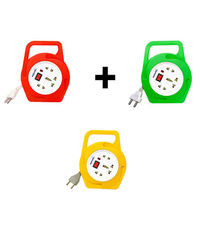 Novel -Square 2 Pin Flex Box 4.8 meter (with Handle, Indicator and International Socket) - Pack Of 2 Red & yellow Colour, red and yellow