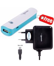 Nextech 2800mAh Power Bank Battery Charger With Torch, White Blue