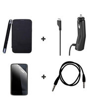 Callmate Combo Of Flip Cover For Samsung S Duos S7562+ Car Charger+ 3.5mm Aux Cable+ Screen Guard, Black