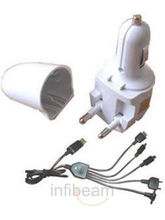 Callmate Hybrid Wall & Car Charger - Multi USB Cable (White)