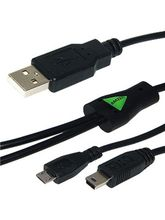 Amzer USB to Dual Mini USB and Micro USB Y Splitter Charging Handy Cable, black