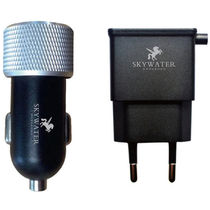 Skywater Travel Charger: 1 USB port+ micro USB & Car Charger: 2 USB port Output: 2.1A,  black