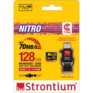 Strontium-NITRO-466x-128GB-MicroSDXC-UHS-I-(70MB/s)-Memory-Card-(With-Type-C-Card-Reader)