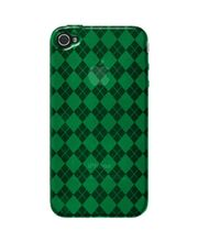 Amzer Luxe Argyle High Gloss TPU Soft Gel Skin Case For IPhone 4, Green