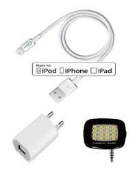 Cadyce Apple Mfi Certified Cable for iPhone 7-6plus-6-5s-5 with Combo,  white