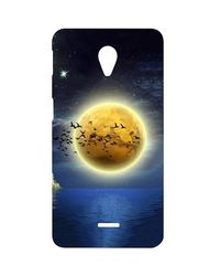 Casotec Moon View Design Hard Back Case Cover for Micromax Canvas Unite 2 A106