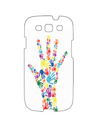 Snoogg Mobile Case Print Design - Hands Typography For Samsung S3, multicolor