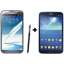 Hdfc Samsung Galaxy Note2-Grey+ Galaxy Tab3 8 GB with Premium Headset Combo, midnightblack