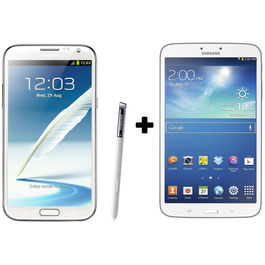 Hdfc Samsung Galaxy Note2-White+ Galaxy Tab3 8 GB with Premium Headset Combo,  white