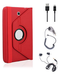 Callmate 360 Degree Rotating Cover Case Combo 3 for Samsung Galaxy Tab 4 7.0,  red