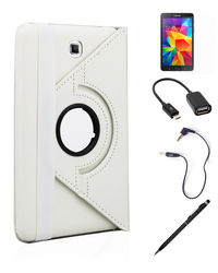 Callmate 360 Degree Rotating Cover Case Combo 1 for Samsung Galaxy Tab 4 8.0,  white