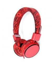 Foshion Flower Love Music Headphone Full Leather Headband Headset with Microphone,  red