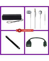 Combo Of Vizio 2600mAh Power Bank, Stylus pen, OTG Cable v8, Earphone, multicolor