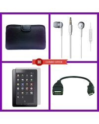 "Combo Of Vizio Earphone, 7"" Tablet screen protector, Otg Cable V8, Soft Case., multicolor"