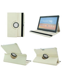 Callamte 360 Rotating Leather Cover Case For Samsung Galaxy Note 10.1 N8000,  white, 0
