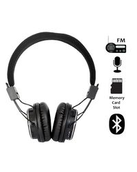 High Coins US-L22 Bluetooth Headphone With Inbuilt FM Radio And Memory Card Player,  black