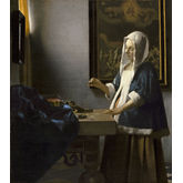 Woman Holding a Balance by Johannes Vermeer, 24 x 27 inches