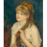 Young Woman Braiding Her Hair by Pierr Auguste Renoir, 18 x 22 inches