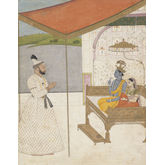 Raja Balwant Singh of Jasrota Worships Krishna and Radha by Nainsukh, 18 x 23 inches
