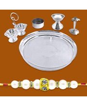 Silver Plated Puja Thali Combo With A Free Rakhi