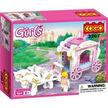 Saffire Girls Princess Horse Carriage Building Block Set, multicolor