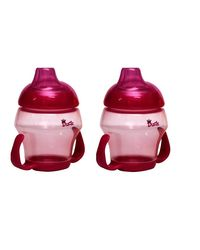 Duck Soft Spout Pack Of 2 Cup With Bottom Handle - 240 ml, pink