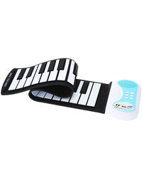 Saffire 37-Keys Roll up Soft Silicone Flexible Electronic Digital Music Keyboard Piano with Loud Speaker, black and white