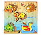 Skillo Junior Identification Tray (With Knobs) Water Animals I (Multicolor)
