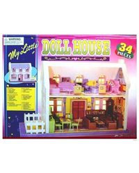 Sunny New Baby Doll House With 34 Pieces, multicolor