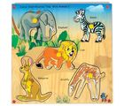 Skillo Junior Identification Tray (With Knobs) Wild Animals I (Multicolor)