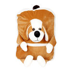 Deals India Kids Shoulder Dog Face Bag With Brown & White Colour (38 x 30 x 10 cm) (bag4), brown