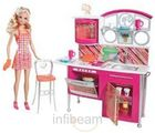 Barbie Stovetop To Tabletop Deluxe Kitchen And Doll Set T8014 (Multicolor)