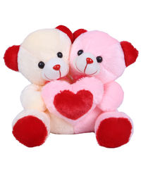 Joy Cuddling Teddy Pair, multicolor